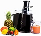 Andrew James Professional Whole Fruit Power Juicer In Piano Black 990 Watts, Includes 2 Year Warranty, Juice Jug And Cleaning Brush
