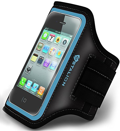 iPhone 4 4S Armband : Stalion® Sports Running & Exercise Gym Sportband (Cyan Blue) Water Resistant + Sweat Proof + Key Holder