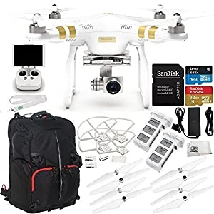 DJI Phantom 3 Professional Quadcopter Drone w/ 4K UHD Video Camera & Manufacturer Accessories + Additional DJI Battery + SSE Phantom Backpack + Set of 4 Self-Tightening Propellers + MORE