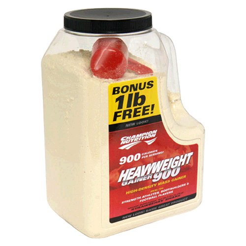 Champion Nutrition Heavyweight Gainer 900 High-Density Mass Gainer, Strawberry Shake, 7-Pound Plastic Jar