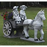 Large Garden Ornaments - Horse & Cart Stone Statue