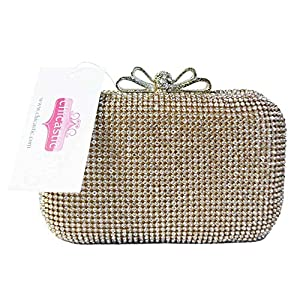 Chicastic Gold Crystal Bow Closure Clutch Purse Cocktail Bag with Rhinestone Crystals