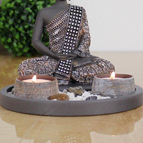 Buddha Sitzend Mit Teelicht 22cm Deko Statue F 1 4 R Wohnzimmer Oder