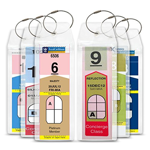 Cruise Tag Caddy 8 Pc Slim Zip Top Luggage Tag Holders for Royal Caribbean & Celebrity Cruise Ships (Wet Seal Tops compare prices)