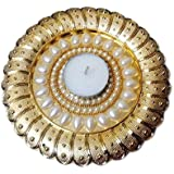 Bold N Elegant Pearl Studded Golden Handcrafted Designer Diya Candle Holder With Complimentory Tea Light Candles