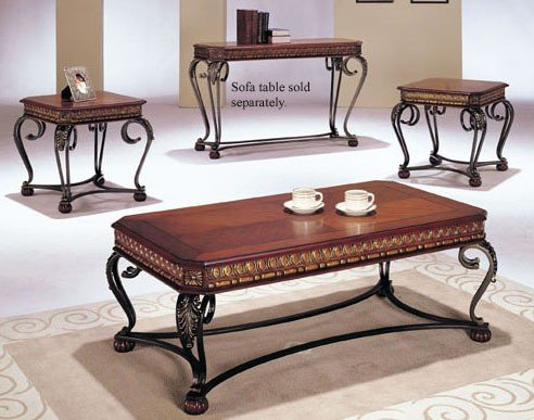 Cheap 3pc Coffee Table End Table Set Dark Oak Finish VF AM7743