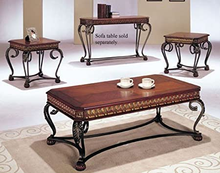 3pc Coffee Table & End Table Set Dark Oak Finish