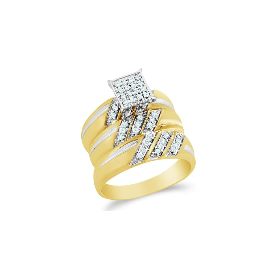 Size 8   10K Two Tone Gold Diamond Mens and Ladies Couple His & Hers Trio 3 Three Ring Bridal Matching Engagement Wedding Ring Band Set   Square Princess Shape Center Setting w/ Micro Pave Set Round Diamonds   (.29 cttw)   SEE PRODUCT DESCRIPTION TO CHOO
