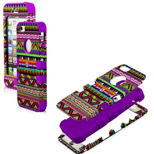 Mylife (Tm) Purple - Colorful Tribal Print Series (Neo Hypergrip Flex Gel) 3 Piece Case For Iphone 5/5S (5G) 5Th Generation Itouch Smartphone By Apple (External 2 Piece Fitted On Hard Rubberized Plates + Internal Soft Silicone Easy Grip Bumper Gel)
