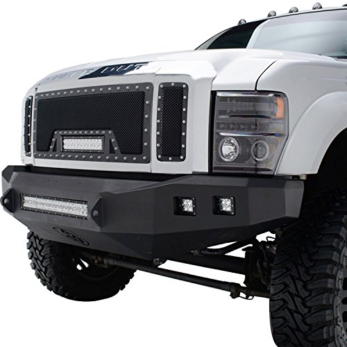 E-Autogrilles 08-10 Ford Super Duty F250 / 08-10 Ford Super Duty F3501PC Cutout Rivet Black Stainless Steel Wire Mesh Grille Grill With LED Light (48-0903) (08 Ford F250 Super Duty Grill compare prices)