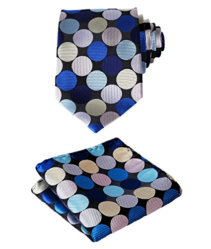 SetSense Men's Polka Dot Jacquard Woven Tie Necktie Set