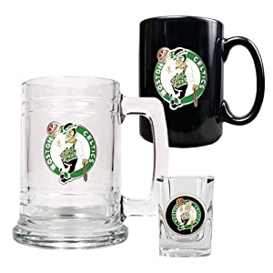 NBA Boston Celtics 15-Ounce Tankard, 15-Ounce Ceramic Mug & 2-Ounce Shot Glass... by Great American Products