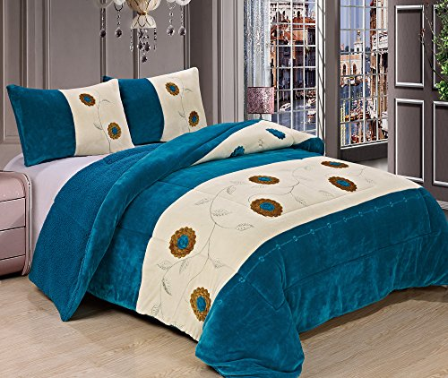 3 Pc King Comforter Bedspread Thick Warm Sumptuously Soft Beautifully Embroidered Plush Faux Fur Borrego Sherpa Reversible Sherpa Winter Blankets (Turqoise) front-675840
