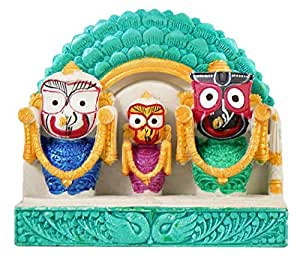 DollsofIndia Jagannath, Balaram, Subhadra (Stone Statue) 4 x 4.25 x 0.75 in.