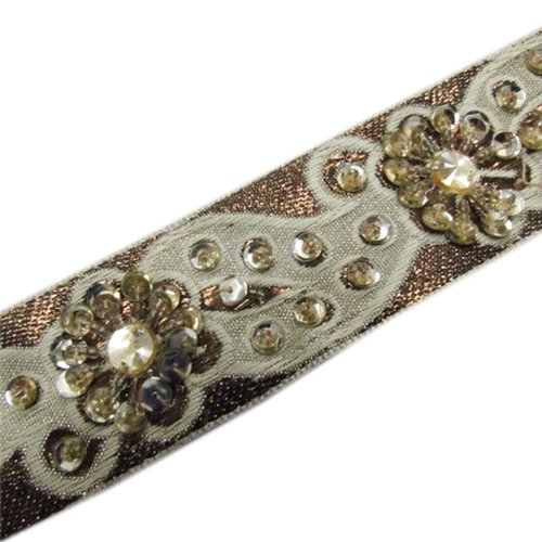 1 Yard Bronze Beaded Light Gold Sequin Off White Trim Ribbon Lace