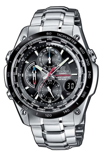 Casio Edifice EQW-500DBE-1AVER Radio Controlled Analog Quartz Watch with Chronograph, Alarm, Time Zones, Date Indicator, Steel Bracelet, Water Resistant to 10 ATM