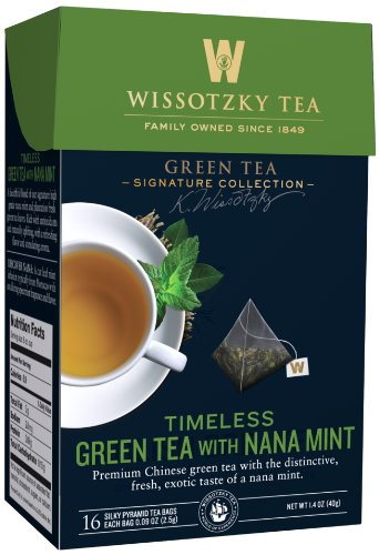 Wissotzky Tea Signature Collection Timeless Green Tea, Nana Mint, 0.09 Ounce Bag, 16 Count