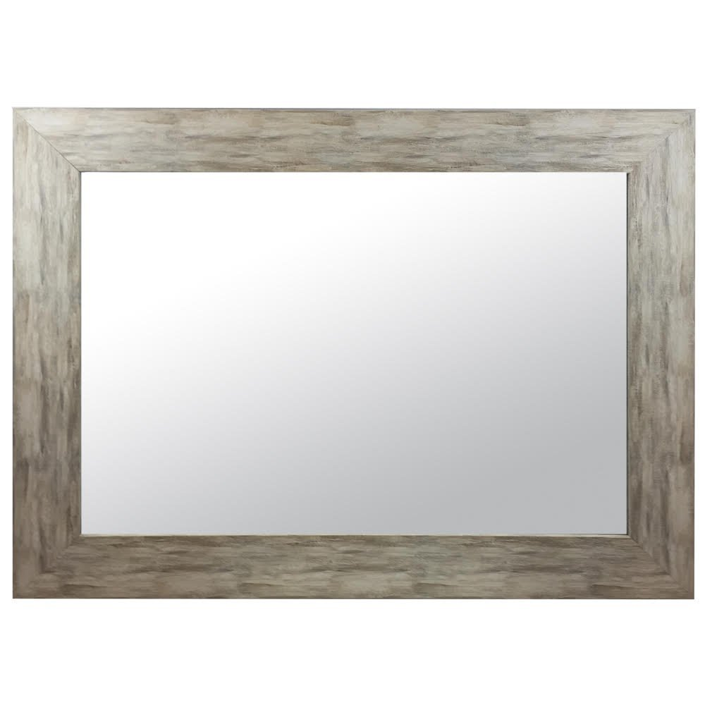 Raphael Rozen - Modern - Classic - Vintage - Hanging Framed Wall Mounted Mirror, Distressed Wood Finish, Gray - White Color 1