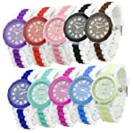 Geneva Women's Silicone Band Jelly Gel Quartz Wrist Watch
