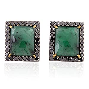 18kt Yellow Gold Black Diamond Pave Emerald Stud Earrings Silver Fashion Jewelry