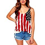 ASHERANGEL Women American Flag Print Wave Tank Top