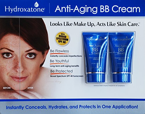 Hydroxatone Anti-Aging BB (Beauty Balm) Cream, Universal Shade for ALL Skin Types, SPF 40 (BONUS Pack of 2, 1.5 ounce bottles) (Costco Steamer compare prices)