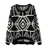 Vobaga Womens Long Sleeve Geometric Pullovers Sweater