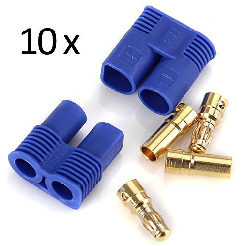 Wmicro 10 Pairs Male & Female Banana Plug RC EC3 Lipo Battery Bullet Connector (Shipped From US) - 1