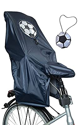 Lunari Lucky Cape Children's Bike Seat Rain Quick - 2 in 1 Soccer, Black with Reflective Rendem Football - One Size - 023031