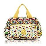 Women Nylon Flower Handbags Casual Mom Bags Shoulder Bags Crossbody Bag (Yellow)