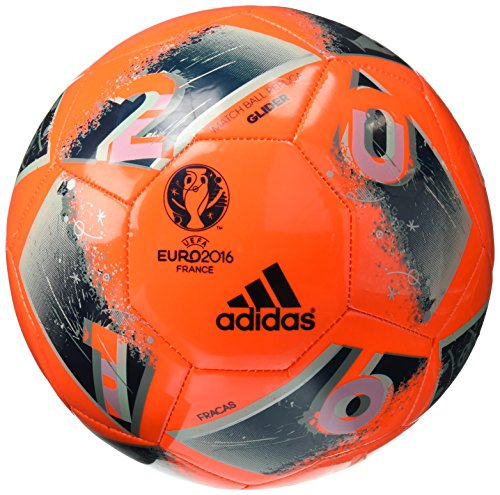 adidas Performance Euro 16 Glider Soccer Ball, Solar Orange/Utility Green/Ice Green/Vapour Steel Grey, Size 5