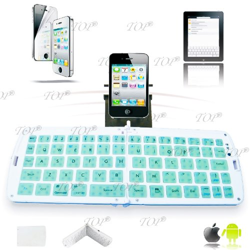 Top® Quality Wireless Bluetooth Keyboard For Samsung Galaxy Note 2, Note Ii, N7100, Mini Bluetooth Keyboard For Galaxy Tab 10.1, Note 10.1, N8000, N8100, N8130, Wireless Keyboard For Ipad 1234, Ipad Mini, Iphone 4/5 And All Smart Phones And Tablets Os...
