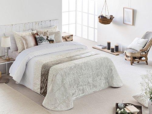 Textilhome - Colcha Bouti Jacquard DAMA - Cama 105cm - Color Beig