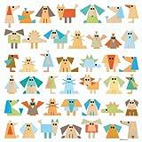 Happy Spaces Kids Wall Art Canvas Print: Blue Retro Animals by Lucy Monkman (54 x 54 x 2 cm)