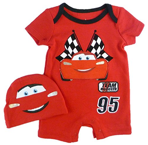 "Disney Baby Boy's CARS ""Team McQueen"" Romper & Hat Set (Newborn)"