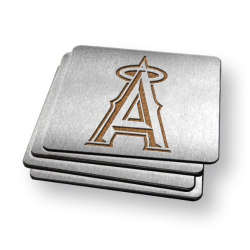 MLB LA Angels Boasters, Heavy Duty Stainless Steel Coasters, Set of 4