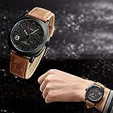 Vktech® Fashion Curren Men Sport Military Water Quartz Watch with Leather Strap (Black)