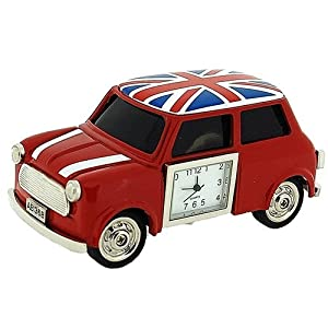 nouveaut horloge de collection miniature en forme de voiture rouge avec drapeau anglais. Black Bedroom Furniture Sets. Home Design Ideas