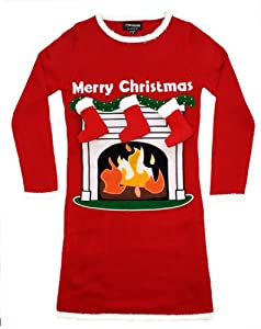 Women's Fireplace Lighted Christmas Sweater with 3-D Stockings in Red