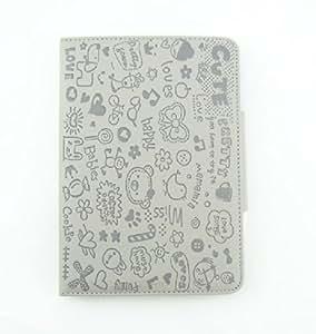 KolorFish iLove Cartoon Love Prints Funky Designer Leather Book Type Case Cover for Apple iPad 2, iPad 3, iPad 4 Grey