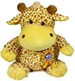 Giraffe soft toy 50cm tall with rosette and detachable badge with message Get Well Soon