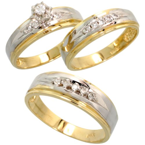 14k 2 Tone Yellow White Gold Trio 3 Piece His 6mm Hers 5mm
