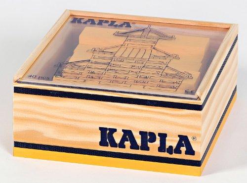 KAPLA 6510 Holzplättchen, 40 Steine, gelb