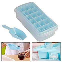 HOKIPO 18 Cubes Plastic Ice Tray with Storage Box + Spoon + Transparent Cover Lid - Color Blue