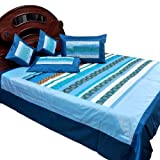 Little India Jaipuri Hand Floral Embroidery Silk 5 Piece Double Bedding Set - Blue  (DLI3SLK358)