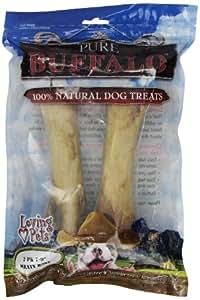 Loving Pets Pure Buffalo 7 to 9-Inch Meaty Femur Bone Dog Treat, 2-Pack