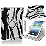 Stuff4 Zebra Designed Leather Smart Case with 360 Degree Rotating Swivel Action and Free Screen Protector/Stylus Touch Pen for 7 inch Samsung Galaxy Tab 3 T210/T211/P3200/P3210/Kids Edition