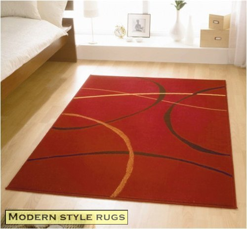 Contemporary Cheap Modern Retro Red Black Rugs 4 SIZES AVAILABLE, 160x225cm (5ft6'' x7ft5'')
