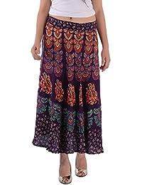 Indi Bargain Rayon Rajasthani Mandala Hand Block Printed Full Length Wrap Around Skirt - 412