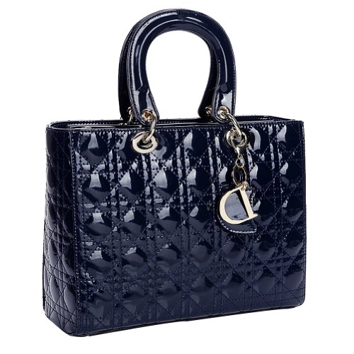 Fineplus Womens Fashion Bags Leather Diamond Shoulder Strap Bags Navy Blue Small